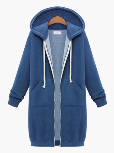 Drawstring Cotton Blend Hoodie For Woman фото