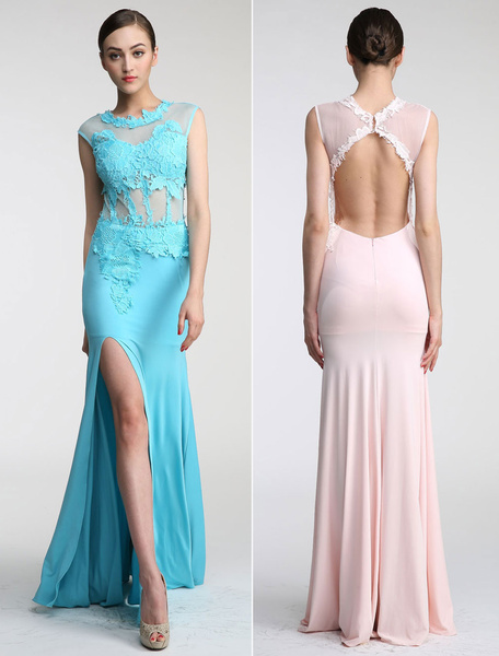 Lace Applique See Through Illusion Neckline Keyhole Back Prom Dress