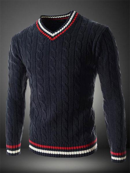 V-Образным Вырезом Повседневная Пуловер