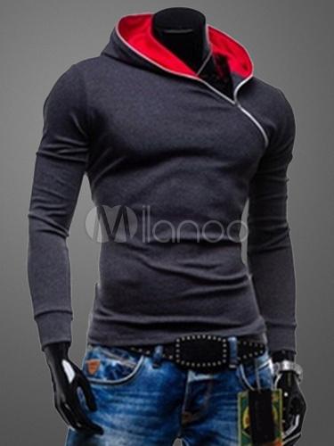 Cotrast Zipped Hoodie Milanoo