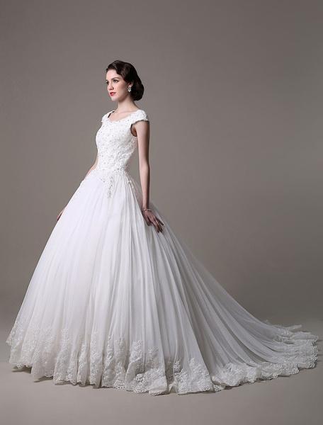 2017 Prinzessin-Stil HochzeitsKleid  mit Perlen-Applikation Milanoo