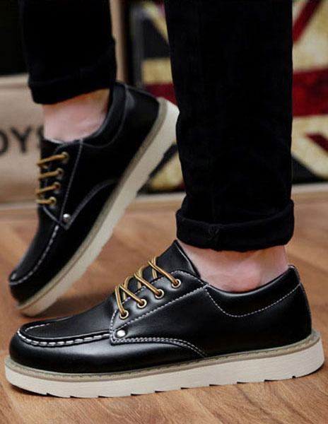 Black Casual Shoes Men's Round Toe Lace Up Flat Shoes фото