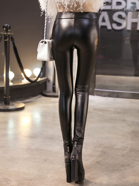 Fleece Lined Leather Stirrup Leggings фото