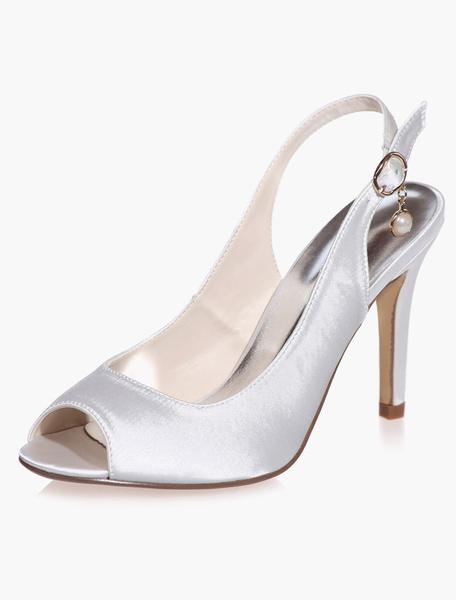 Sandales de mariée en satin  perles à talons aigus décollés