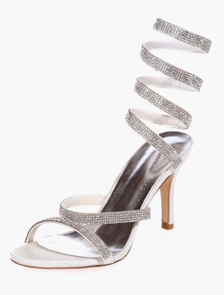 Rhinestones Satin Evening & Bridal Sandals фото