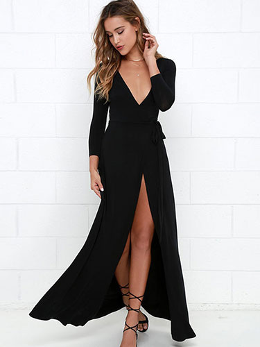 Womens Maxi Dress High Split Long Sleeve V Neck Black Dress