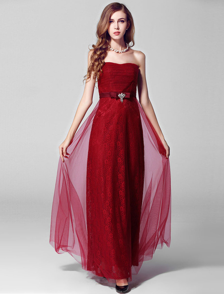 Burgundy Lace Tulle Strapless Evening Dress фото