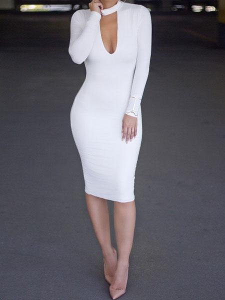 Bodycon Choker Dress Long Sleeve Sexy Pencil Dress For Women