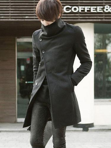 Men's Wool Blend Long Coat фото