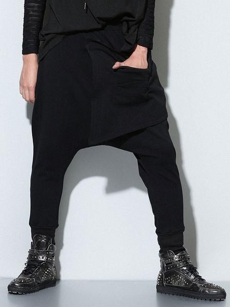 Black Grommets Cotton Harem Pants for Men фото