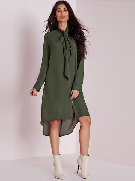 Green Tie-neck Chiffon Shirt Dress For Women фото