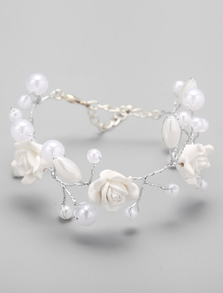 White Lobster Claw Clasp Pearl Metal Bracelet