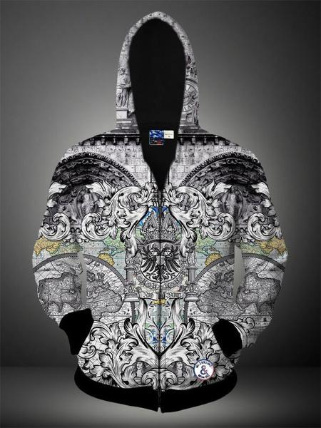 Multicolor algodón impresión 3D mezcla con capucha para hombres
