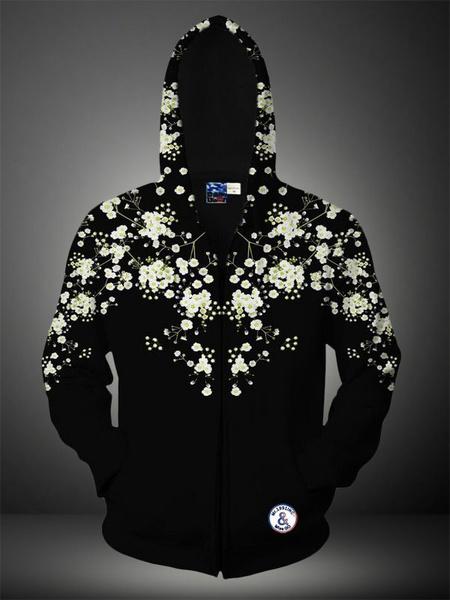 Algodón negro de la impresión 3D mezcla con capucha para hombres