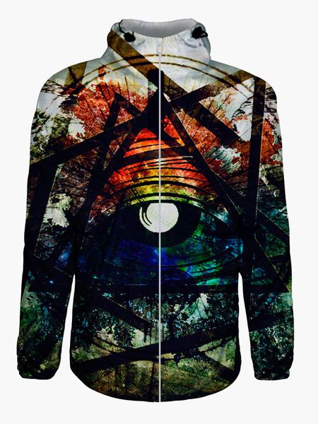 Multicolor 3D Print Cotton Blend Hooded Sweatshirt for Men
