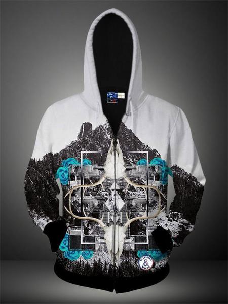 White 3D Print Cotton Blend Hooded Sweatshirt for Men