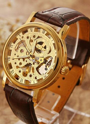 Круглой формы сплава скелет часы для мужчин