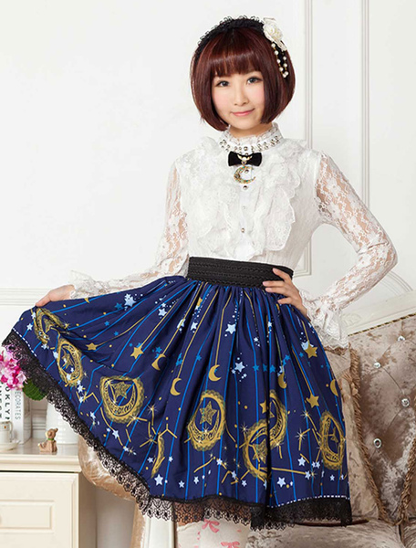 Deep Blue Star Printed Polyester Lolita Skirt for Girls фото