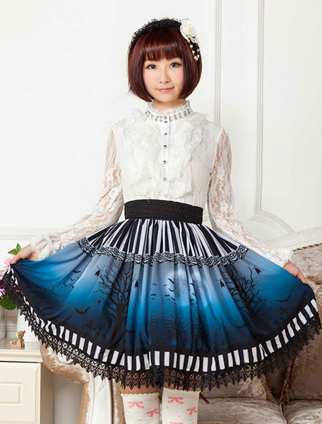 Sweet Lolita Skirt The Bat Under The Blue And White Moon Night SK Lolita Skirt фото