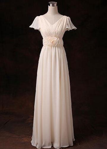 Chiffon Bridesmaid Dress Short Sleeve V Neck Gold Champagne Waist Flowers Long Bridesmaid Dress фото