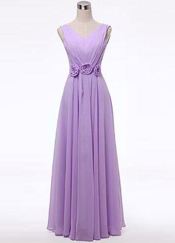 Lilac Flowers Chiffon Bridesmaid Dress for Woman фото