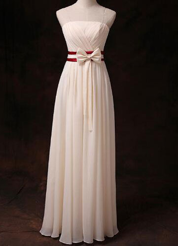 Gold Champagne Bridesmaid Dress Strapless Pleated Ribbon Bow Sash Chiffon Long Bridesmaid Dress