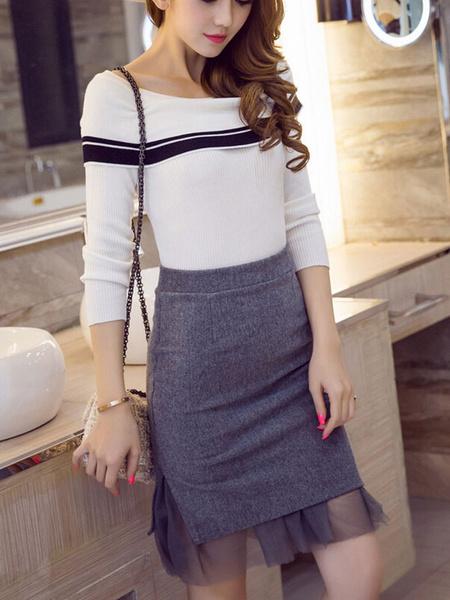 Gray Split Nets Polyester Skirt For Woman фото
