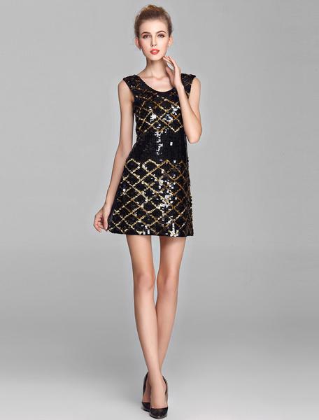 Golden and Black Plaid Sequin Cocktail Dress