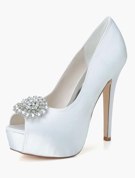 Sandales de mariée en satin avec strass à talons aigus mocassin