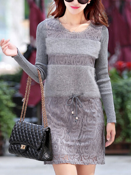 Gray Cotton Blend Faux Fur Knitted Dress For Woman фото