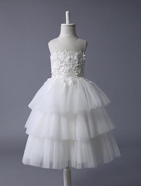 Avorio illusione livelli pizzo Applique Garden Flower Girl Dress
