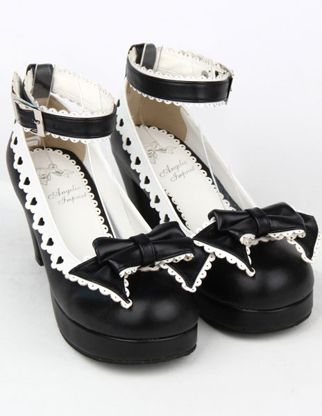 Matte Black Lolita Chunky Heels Shoes White Trim Bow Decor Ankle Strap Buckle Round Toe фото