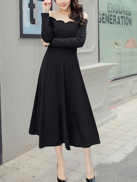 Off-The-Shoulder Black Maxi Dress for Women Milanoo