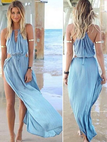 Blue High Split Chiffon Maxi Dress for Woman фото