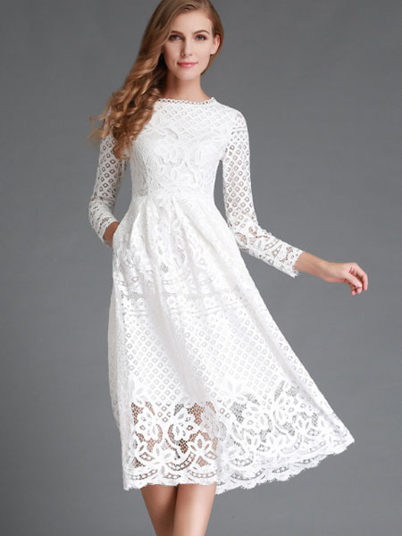 White Semi-Sheer Lace Flared Dress for Women фото