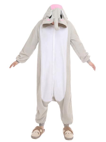 Kigurumi Pajama Elephant Onesie Gray Unisex Synthetic Mascot Costume фото