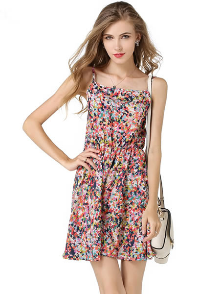 Multicolor Floral Print Summer Dress for Women