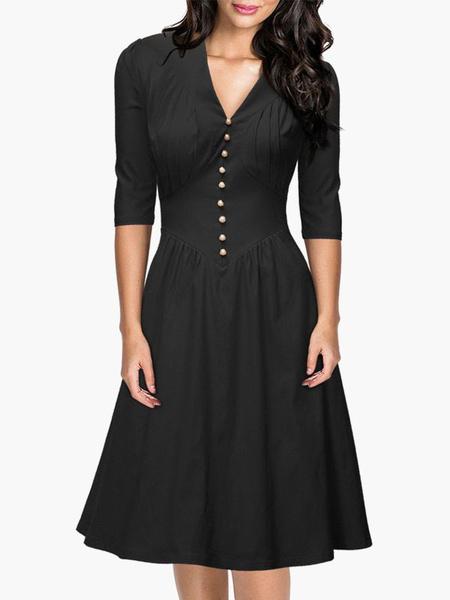 Black V-neck Cotton Vintage Dress for Women фото