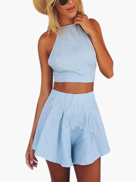 Light Blue Cotton Cropped Skirt Set for Women фото