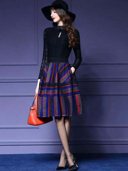 Vestido plisado a rayas con escote Ilusión y manga larga Milanoo