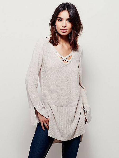 Khaki V-Neck Split Cotton Blend Pullovers for Women фото