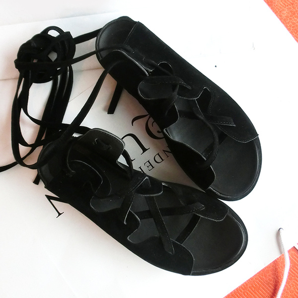 Black Monogram Suede Wedge Sandals for Women фото