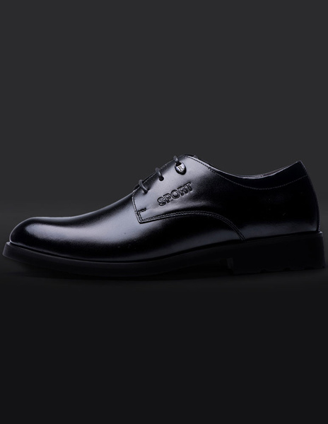Milanoo / Black Lace Up Cowhide Dress Shoes for Men
