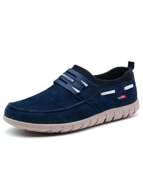 Blue Cow Suede Loafer Shoes for Men фото