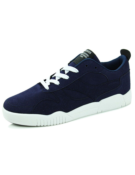 Blue Monogram Suede Lace Up Casual Shoes for Men фото