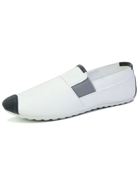 White Quality Synthetic Loafer Shoes For Men фото