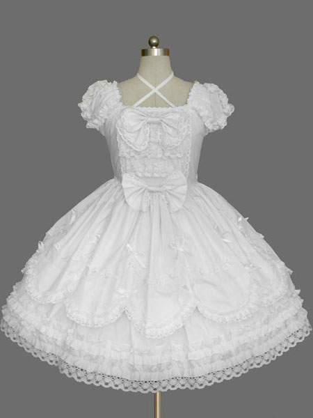 White Bows Cotton Gothic Lolita One-Piece for Girls фото