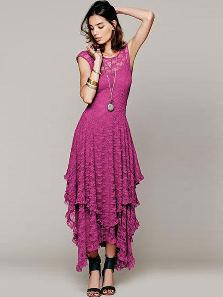 Rose Red Layered Lace Maxi Dress for Women фото