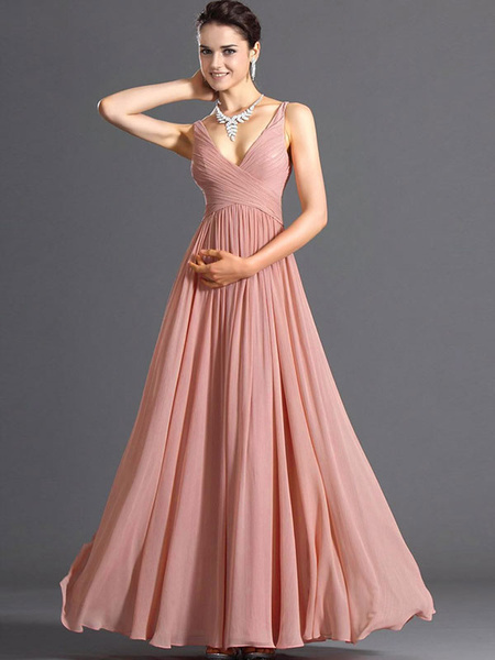 Pink Maxi Dress 2019 V Neck Chiffon Long Prom Dress For Women