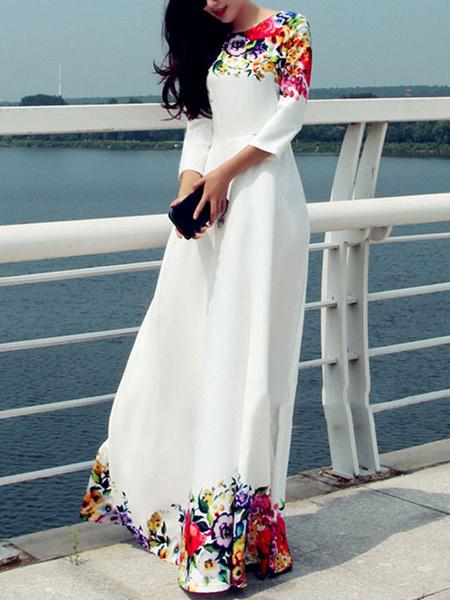 White Long Dress Floral Print Chiffon Maxi Dress For Women